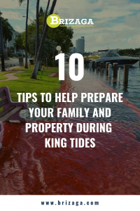 10 Tips to Help Prepare Your Family and Property During King Tides. Let us be your partner on your adaptation journey, to learn more about your flood and sea level rise risk visit www.brizaga.com